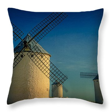 Throw Pillow featuring the photograph Windmills Under Blue Sky by Heiko Koehrer-Wagner