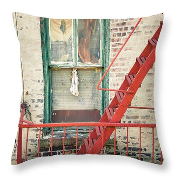 Window And Red Fire Escape Throw Pillow by Gary Heller