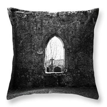 Window At Fuerty Church Roscommon Ireland Throw Pillow