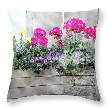 Throw Pillow featuring the photograph Window Box 5 by Donna Bentley