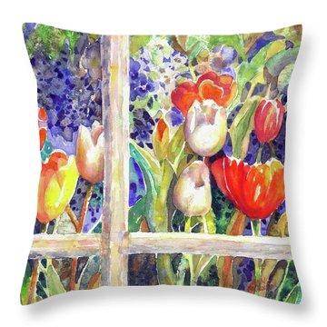 Window Box Tulips Throw Pillow