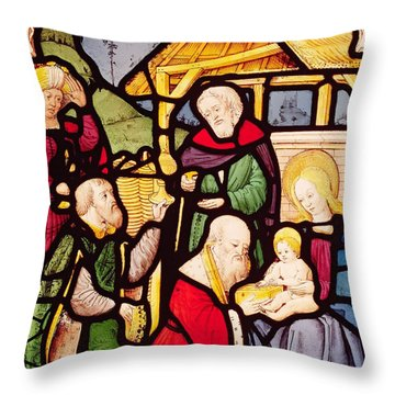 Window Depicting The Adoration Of The Magi Throw Pillow by French School