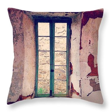 Window In Eastern State Pennitentiary Throw Pillow by Sharon Halteman