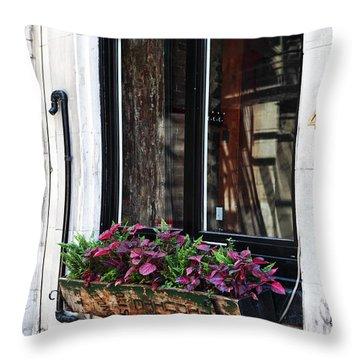 Window Flowers Throw Pillow by John Rizzuto
