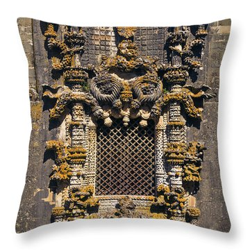 Window In Convent Of Christ - Tomar Throw Pillow