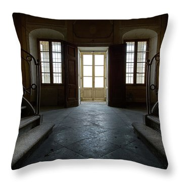 Throw Pillow featuring the photograph Window Light On Dark Stairs by Dirk Ercken
