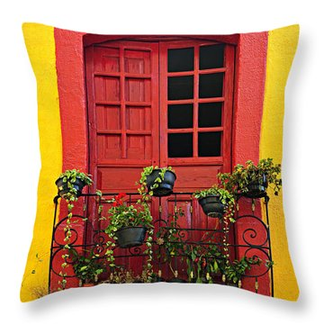 Window On Mexican House Throw Pillow