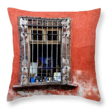 Window On Red Wall San Miguel De Allende, Mexico Throw Pillow