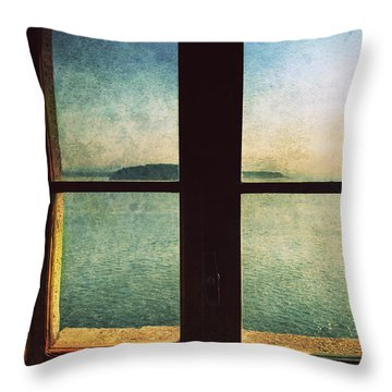 Window Overlooking The Sea Throw Pillow