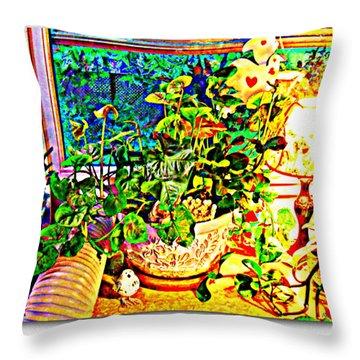 Window Plant Throw Pillow