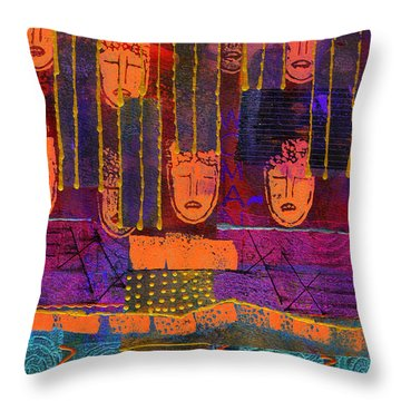 Throw Pillow featuring the painting Window Shopping by Angela L Walker