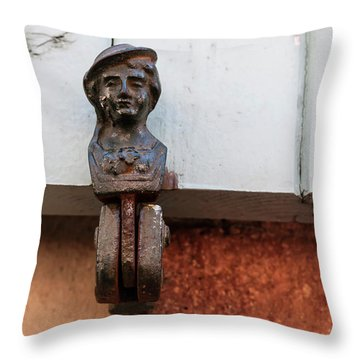 Throw Pillow featuring the photograph Window Shutter Holder by Elena Elisseeva
