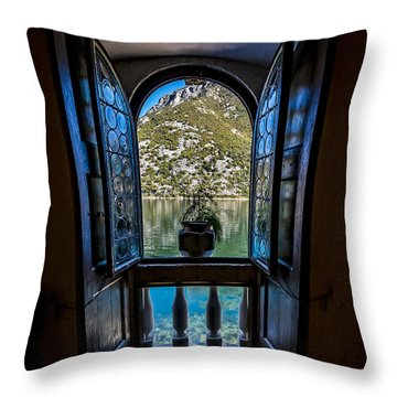 Window To The Lake Throw Pillow