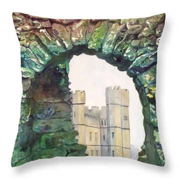 Throw Pillow featuring the painting Window To The Past by LeAnne Sowa