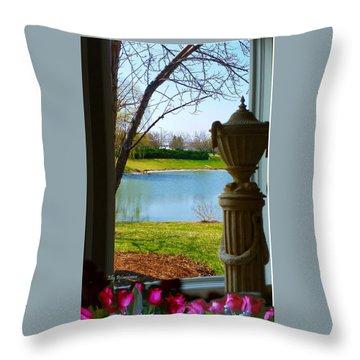 Window View Pond Throw Pillow