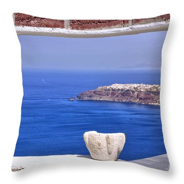 Window View To The Mediterranean Throw Pillow