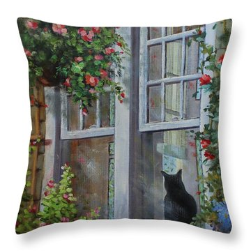 Window Watcher Throw Pillow