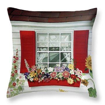 Windowbox With Cat Throw Pillow