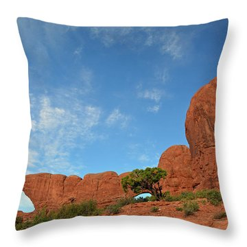Throw Pillow featuring the photograph Windows Arches With Wispy Clouds by Bruce Gourley