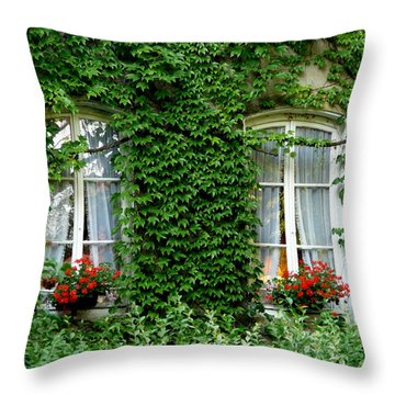 Windows Draped In Ivy Throw Pillow