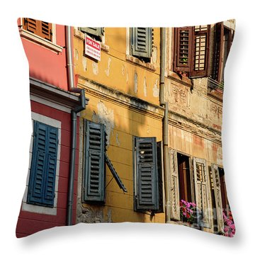Windows Of Rovinj, Istria, Croatia Throw Pillow