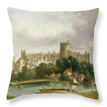 Windsor Castle - From The Thames Throw Pillow by Alfred Vickers