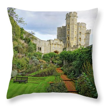 Throw Pillow featuring the photograph Windsor Castle Garden by Joe Winkler