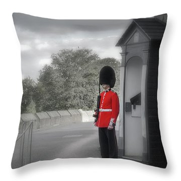 Throw Pillow featuring the photograph Windsor Castle Guard by Joe Winkler