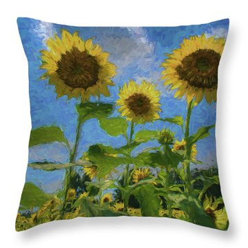 Windsor Castle Sunflowers Throw Pillow