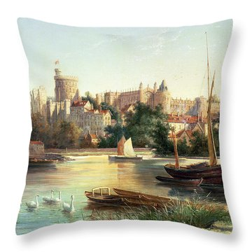 Windsor From The Thames   Throw Pillow by Robert W Marshall