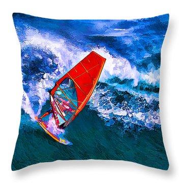 Windsurfer Joy Throw Pillow