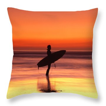 Windsurfer At Widemouth Bay, Bude, Cornwall Throw Pillow