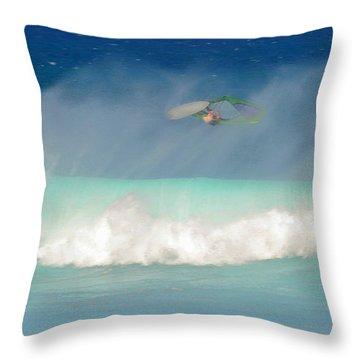 Windsurfer In The Spray Throw Pillow