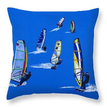 Windsurfers Throw Pillow