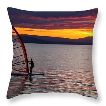 Windsurfing Lake Champlain Throw Pillow