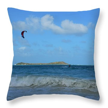 Windsurfing Orient Beach In Saint Martin Throw Pillow