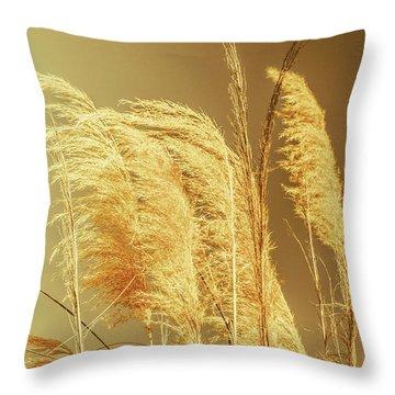 Windswept Autumn Brush Grass Throw Pillow