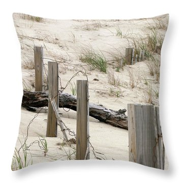 Windswept Beach Fence Cape Cod Massachusetts Throw Pillow