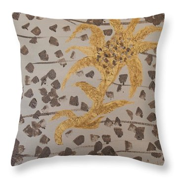 Windswept Golden Plantae #4 Throw Pillow by Rachel Hannah