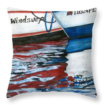 Throw Pillow featuring the painting Windswept Reflections Sold by Lil Taylor