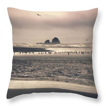 Throw Pillow featuring the photograph Windy Balmy Day At The Beach by Tikvah's Hope
