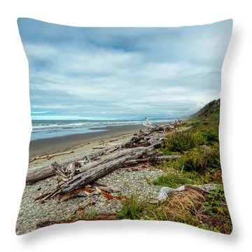 Windy Beach In Oregon Throw Pillow