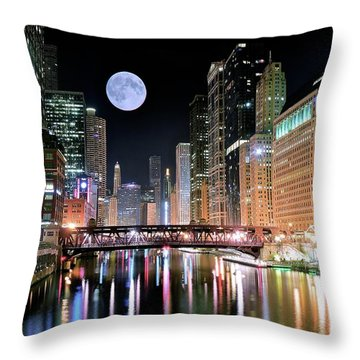 Windy City River Moon Throw Pillow