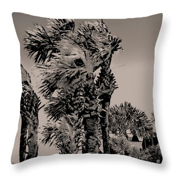 Windy Day At Beach Throw Pillow