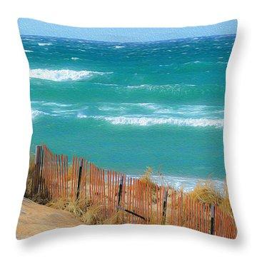 Windy Day On Lake Michigan Throw Pillow