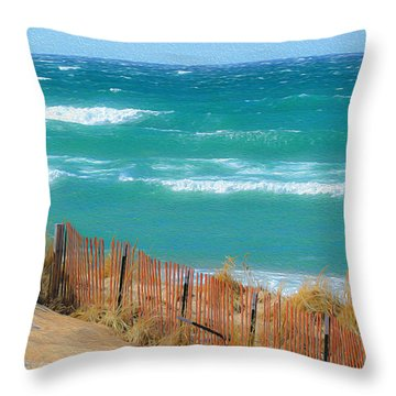 Throw Pillow featuring the photograph Windy Day On Lake Michigan by SimplyCMB