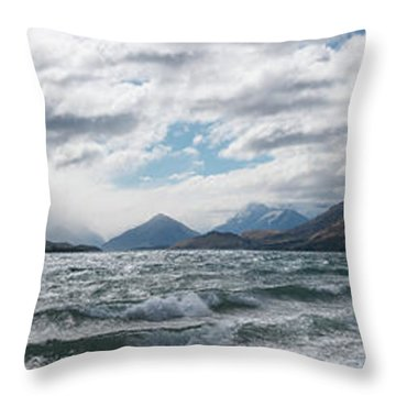 Throw Pillow featuring the photograph Windy Day On Lake Wakatipu by Gary Eason