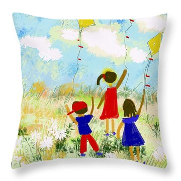 Windy Days Throw Pillow by Elaine Lanoue