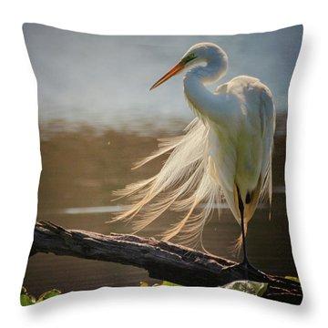 Windy Egret  Throw Pillow