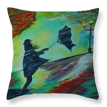 Throw Pillow featuring the painting Windy Escapade by Leslie Allen